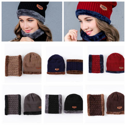 Tejido De Lana Baratos-Stretch Cable Knit Lined Thick Warm Winter Lana Beanie Hat Cap 2pcs Set Lana Sombrero Cap Beanie Knitted Caps Neck Warmer pañuelo para el cuello KKA3192