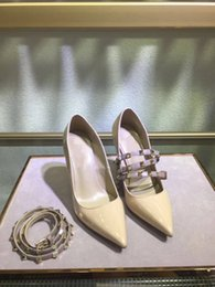Discount burgundy dance shoes - 8029.2017 Designer women high heels party fashion rivets girls sexy pointed shoes Dance shoes wedding shoes Double strap