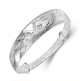 Discount sterling silver phoenix charm - Top 925 sterling silver jewelry charm bracelets bangle ethnic vintage lucky blessing phoenix bird carving charms