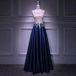 Really Dresses Australia - Really Photo White Tulle And Blue Taffeta Appliques Beaded O-Neck Tank Zipper Floor Length Ball Gown Prom Party Dress Vestido de noche