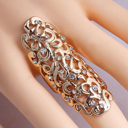 Hollow Fingers Canada - New Exquisite Cute Retro CZ Diamond rings hollow carved rings Gold Silver Ring Finger Nail Rings - 0032WR