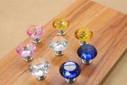 Pull Handles Crystals Canada - Fashion Hot Clear Crystal Knob Cabinet Pull Handle Drawer Kitchen Door Wardrobe Hardware