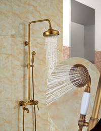 "$enCountryForm.capitalKeyWord Canada - Wholesale And Retail Luxury Antique Brass 8"" Round Rain Shower Head Valve Mixer Tap W  Handheld Sprayer Wall Mounted"