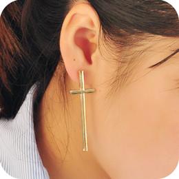 $enCountryForm.capitalKeyWord Canada - New Stud Earrings Fashion Woman eardrop Earing Ear Acc black\silver\gold cross earrings jewelry women stud earrings Christian cross Free DHL
