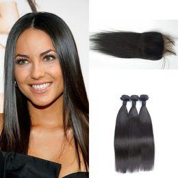 hair bundles closures sale 2019 - Top quality 3 bundle brazilian straight hair weaves bundles with lace frontal closure 13x4 free middle 3 part natural bl