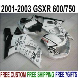 Kit Gsxr K1 Australia - Top quality ABS fairings set for SUZUKI GSX-R600 GSX-R750 2001-2003 K1 white black Corona fairing kit GSXR 600 750 01 02 03 SK43