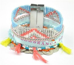 $enCountryForm.capitalKeyWord NZ - Fashion Women Bohemian Coin Mexican Beaded Bracelets Braided Multi Layer Beach Charm Rhinestone Chain Bracelets Party