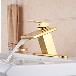 """Sinks Product Canada - Best Sale Product High Quality Basin Sink Taps Single Lever Waterfall with 8"""" Hole Cover Gold Deck Mount"""