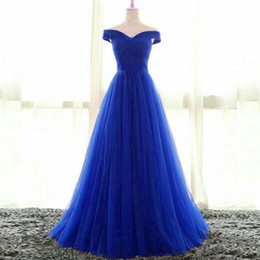Barato Baile De Formatura Corset Barato-Cheap High Quality Royal Blue Prom Dress Uma linha fora do ombro Ruched Tulle Lace-up Corset Back Floor Length Evening Party Gowns