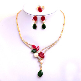 Yellow Flower Jewelry NZ - Free shipping 18k Yellow Gold Filled Women's Austrian Crystal Pearl Colorful Flower Necklace Earrings Ring Wedding Jewelry Sets