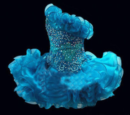 Robe D'honneur Pas Cher-2015 Glitz Cupcake Organza Girls Pageant Robes Sparkle One Shoulder Beading Crystal Ruffles Short Kids Robes de bal Party Party BO6562