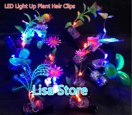 Light Up Hair Clips Canada - Free Ship 100pcs LED Light Up Glow Plant Hair Clips Flash Glow Grass Hair Clips Christmas Party Decoration