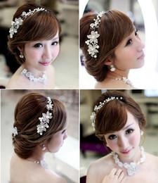 Hair Accessories Headdress Flower Tiara Canada - 2017 Korean Hair Jewelry Headdress Headband Wedding Hair Accessories Faux Pearl Flower Fascinator Shiny Crystal Tiara Bridal Jewelry