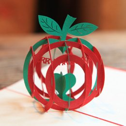 Sale Christmas Cards Canada - 100mm*150mm High quality Handmade Christmas Fruit Greetings Cards Kirigami 3D Pop up Card Hot Sale Free Shipping