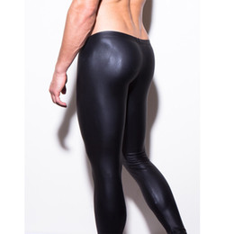 Discount mens tight leather trousers - Wholesale-mens long pants tight fashion hot black leather men's pants sexy boxer Full Length panties trousers Brand