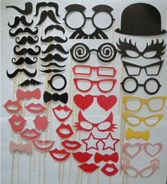 Mask lips Mustache stick online shopping - Party wedding photography Photo Booth Prop Trendy Mustache Eye Glasses Lips on a Stick Mask