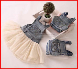 Barato Baby Cowboy Suspensórios-2015 New Girls Girls Washed Denim Dress Kids Jeans Suspender Dress Lace TUTU Tiered Tulle Strap Dresses Baby Boy's Cowboy Party Dress