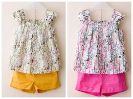 Floral two piece short set online shopping - kids clothes summer girls sets two piece floral print short set tree print tshirt vest shorts girls in stock