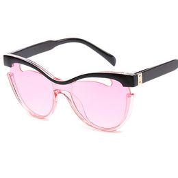 9e342c616316a Fashion Half Frame Women Cat Eye Sunglasses Brand Designer Retro Men Hollow  Out Gradient Lens Shades UV400 Y242