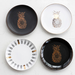 Luxury tray online shopping - Gilding Pineapple Dinner Plates Multifunction Ceramic Candy Storage Tray Luxury Designer Dishes For Wedding Party Decorations qj C RZ