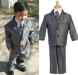 Man Suits Formal Wear Canada - Custom Made Little Men Grey Two Buttons Suits For Baby Notch Lapel Boy Kids Formal 2014 Wedding Party Tuxedos(Jacket+Vest+Pants)