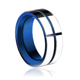 wholesale plate blue tungsten carbide ring plated ip blue unique wedding ring free shipping