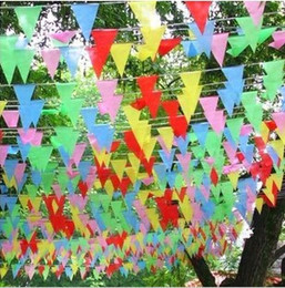 450pcs lot Colorful Triangle Flags And Banners Home Decoration Flag Festive Birthday Wedding Married Bandeira Party Supplies