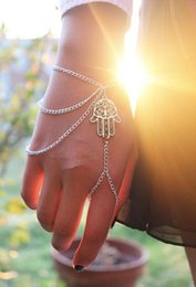 $enCountryForm.capitalKeyWord Australia - Hot Bracelets Asymmetric Men Women Hamsa Fatima Bracelet Finger Ring Slave Chain Hand Harness Fashion Jewellery Link Chain Charm Bracelets
