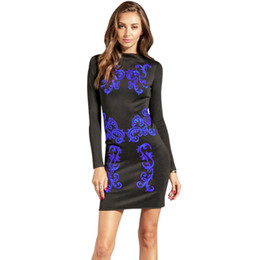 457ae6738e31 2017 Winter New Women s Sexy Black Bodycon Dresses Casual Paisley Pattern  Crew Neck Long Sleeve Party Cocktail Club Mini Dress