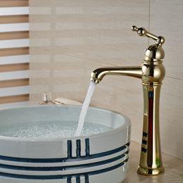 Wholesale And Retail Luxury Golden Brass Bathroom Basin Faucet Single  Handle Hole Vessel Sink Mixer Tap Deck Mounted Luxury Vessel Sink Faucets  On Sale