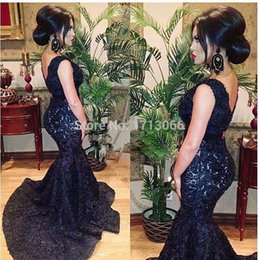 Fête De La Quimica De La Sirène Pas Cher-2016 éteindre moins cher robe de quinceanera cou Mermaid Double V- Noir Prom dentelle robe longue robe de soirée Party Counrt train Vestido De Renda