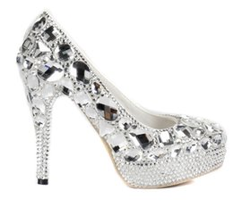 Wedding goWns shoes online shopping - Luxurious Evening Shoes Silver Platform Crystal Shoes Party Gown High Heels Handmad Diamond Rhinestone Bridal Party Shoes Prom