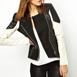 Black And White Leather Jacket For Women Coat Nj