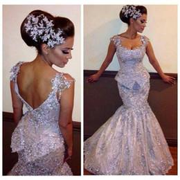 Discount apple green wedding - Cap Sleeves Scoop FloorLength Formal Modern2015 Mermaid Bridal Wedding Dresses With Lace Appliqued Beading Sequins Prom