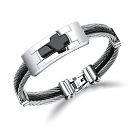 mens crosses crucifixes Canada - Mens Stainless Steel Metal Religious Crucifix Cross Cuff Wrist Bracelet Silver Black Tone