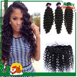Discount bundle weave silk top closure - Malaysian Deep Wave Human Hair Bundles With Silk Base Lace Frontal Closure 8A Silk Top Full Lace Frontals With Wavy Virg