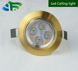 Ceiling Aluminum Shell Canada - 30pcs lot Dimmable 4x2W Glod Shell Led Ceiling Down light Led Recessed Downlight Wrm White Pure White Cold White Led Light With Led Driver