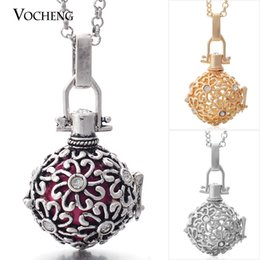 Chinese  Angel Bola Necklace 3 Colors Brass Metal Cage Prayer Box Necklaces with Stainless Steel Chain VA-045 manufacturers