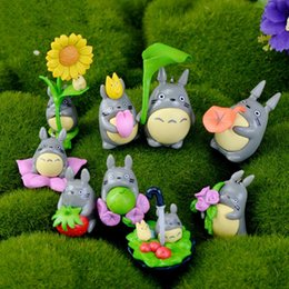 japanese mini figures Canada - 9pcs Set Cute Mini Cartoon TOTORO DIY Miniature Japanese My Neighbor Totoro figure Gifts doll Resin Miniature Figurines Toys