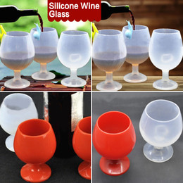 Wholesale Outdoor Portable Rubber Wine Beer Glass Standing Goblet Silicone Cup Wine Glasses New Design Fashion For Camping BBQ