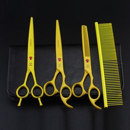 Pet Hair Salon Canada - 7'' Hairdressing Scissors 62HRC JP 440C Stainless Steel Pet Hair Cutting Thinning Shears 4Pcs Set With Bag Yellow High Quality