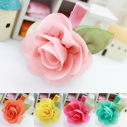 Discount child hair ornament New Fashion Kids Baby Accessories Children Girls Hair Ornaments Hair Bands Hair Clips Rose Flower Princess Baby Party Headwear mixcolors
