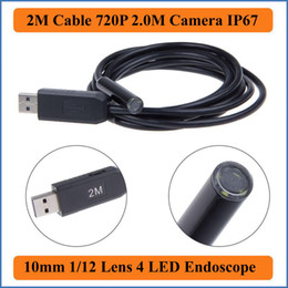 Industrial Video Endoscopes Canada - 2M Cable Length Waterproof USB Endoscope Tube Snake Borescope Video Inspection Camera 2.0M HD 1080*720P with 4 LED Borescope