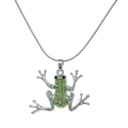 Animal Crystals Necklace Canada - Cute Green animal Necklace New Designer Crystal Pendant Necklaces Rope Chain Women DIY Jewelry Rhodium Plated