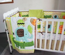 $enCountryForm.capitalKeyWord Canada - 10Pcs Baby bedding sets Embroidery 3D giraffe elephant crocodile tortoise Crib bedding set cotton contain Baby Quilt etc Cot bedding set