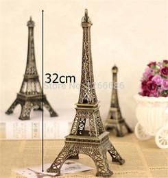 Discount Paris Eiffel Decor   80psc Lot 32cm Paris Eiffel Tower Bronze  Figurine Antique Imitation Statue