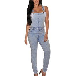 Barato Grossista-Wholesale- Mulheres Meninas Washed Jeans Denim Casual Hole Loose Jumpsuit Romper Overall Pants