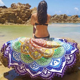 Barato Verão Indiano-Atacado-2016 Bohemia Round Indian Yoga Gym Exercício Mulher Lady Beachwear Beach Cover Up Piquenique Summer Towel Blanket Mat Cushion