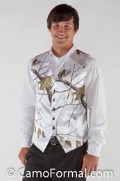 Venta al por mayor de Chalecos de novio Camo blanco Chaleco de camuflaje personalizado Chaleco de novia de desgaste del novio Camo Prom