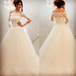 Vestidos De Noiva Off The Shoulder Elegant Lace Bridal Gowns Plus Size Rose Princess Puffy Long Sleeve Wedding Dresses